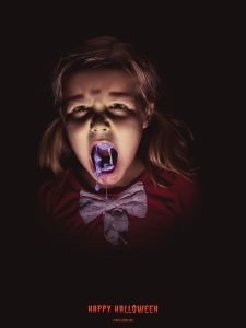 This advertisement for Atomic Candy in 2015 shows a scary girl chewing candy. (Courtesy photo INNOCEAN)