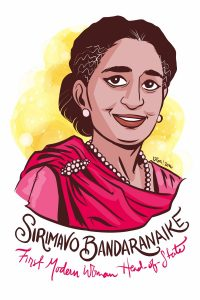Sirimavo Bandaranaike was the first modern woman head of state. (Illustration provided by Rori)